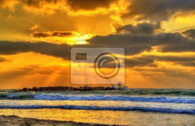 Sunset at the Mediterranean Sea in Haifa