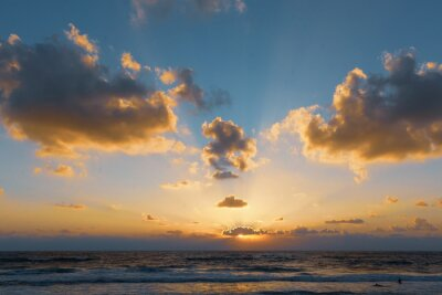 sunset on the Mediterranean sea in Haifa Israel