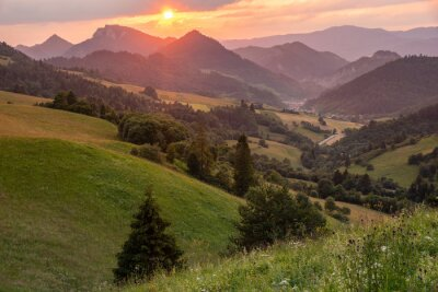 sunset over a mountain valley in Slovakia in the Pieniny National Park