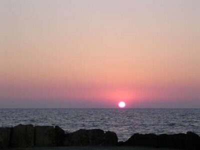 Sunset over the Mediterranean sea in Haifa, Israel