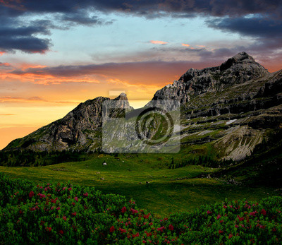 sunset over the mountain Brenta-Dolomites Italy