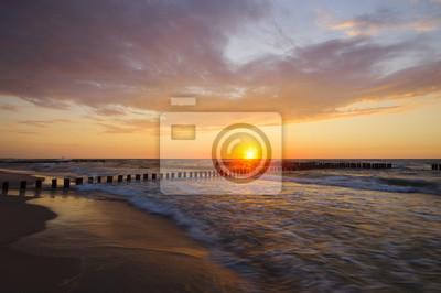 Wall mural Sunset over the sea beach, Baltic Sea, Poland
