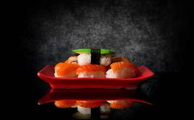 Wall mural Sushi on red plate