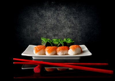 Wall mural Sushi with chopsticks