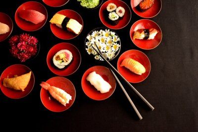 Wall mural Sushi with chrysanthemums