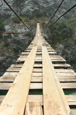 Wall mural Suspension bridge in the canyon