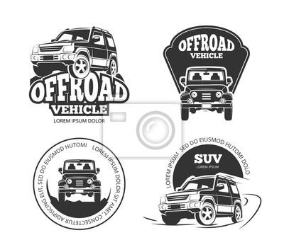 Suv Pickup Retro Vector Emblems Logos Badges And Labels Vehicle