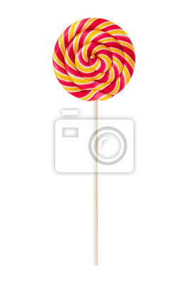 Sweet lollipop with yellow and red stripes
