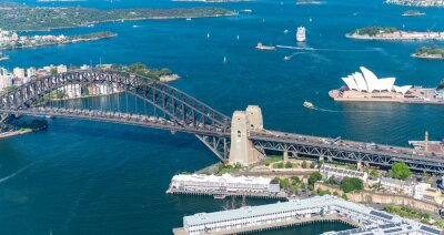 Wall mural Sydney Harbour. Stunning aerial view on a sunny day