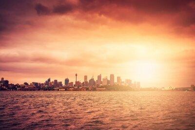 Wall mural Sydney skyline at sunset