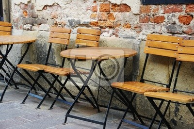 Tables outside the cafe