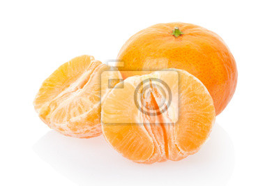 Wall mural Tangerine and half on white, clipping path included