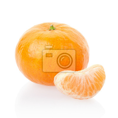 Wall mural Tangerine and segment on white, clipping path included