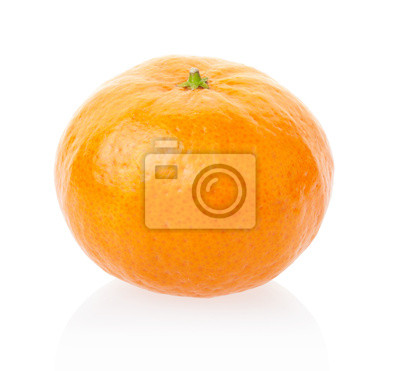 Wall mural Tangerine or mandarin on white, clipping path included