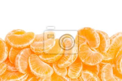 Wall mural Tangerine, orange segments border on white