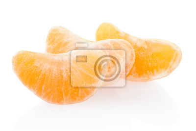 Wall mural Tangerine, orange segments on white, clipping path