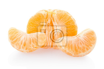 Wall mural Tangerine peeled on white, clipping path included