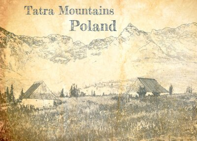 Wall mural Tatra mountain in Poland, sketch on old paper