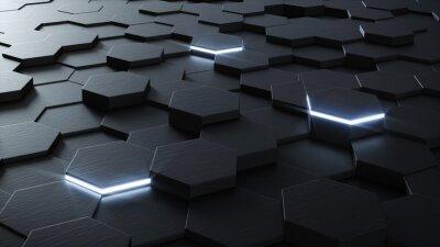 Wall mural Technical 3D hexagonal background design