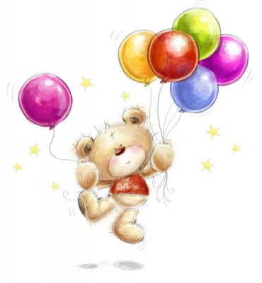 Wall mural Teddy bear with colorful balloons and stars.Happy Birthday