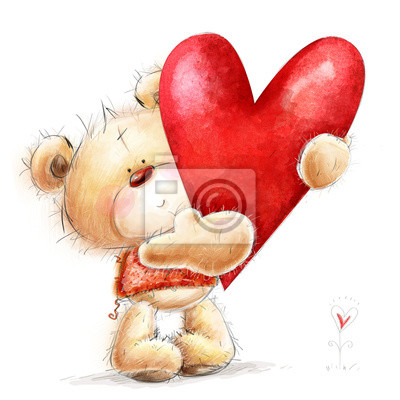 Wall mural Teddy bear with red heart.Valentines greeting card. Love design
