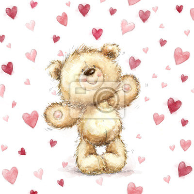 Teddy bear with  red hearts.Valentines greeting card. Love design.Love.I love You card. Love poster. Valentines day poster.