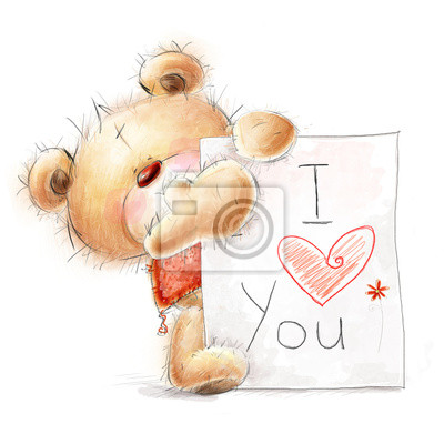 Teddy bear with the big paper with the text.Love design.