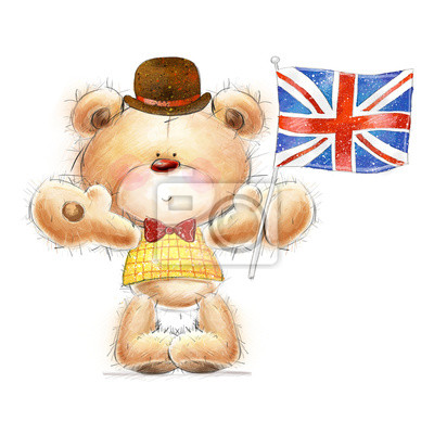 Wall mural Teddy bear with the  UK flag in the hat