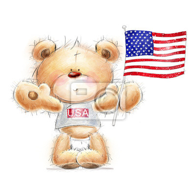 Wall mural Teddy bear with the  USA flag.Independence day