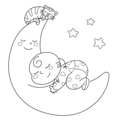 Wall mural Tenera luna con bebè che dorme