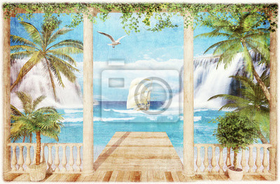 Wall mural terrace with sea view