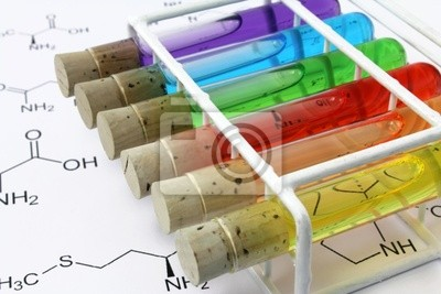 test tubes with formulas
