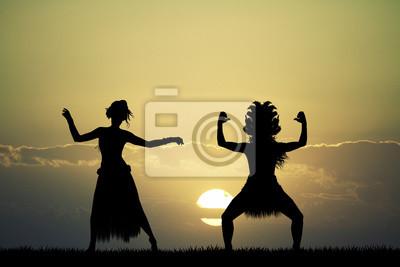 Thai couple dancer at sunset