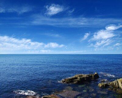 the blue sea and rocks