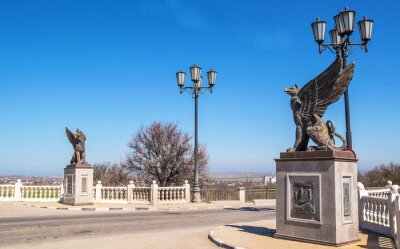 The bridge with antique griffins -  symbol of  city of Kerch