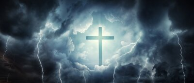 The cross as a symbol of the Christian faith and a stormy sky as a symbol of mortal life full of trials. Concept on the theme God, paradise, religion, Christian faith. Divine light, cross and heaven.