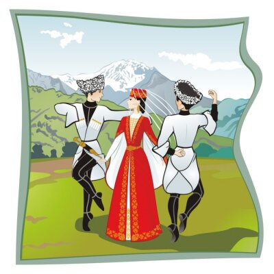 Wall mural The dance Lezginka, Dances of the of the North Caucasus. Two men and one woman dancing on the grass Ossetian lezginka. In the background mountains, vector illustration