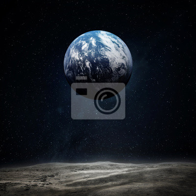 The Earth from moon surface. Elements of this image furnished by NASA.