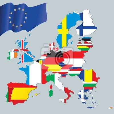 The European Union map with flags textures