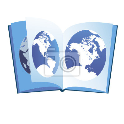 The image of the continents on a geographical atlas