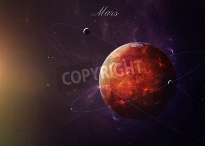 Wall mural The Mars shot from space showing all they beauty. Extremely detailed image, including elements furnished by NASA. Other orientations and planets available.