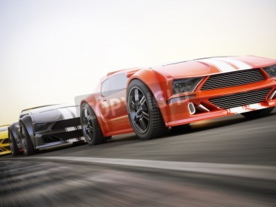 Wall mural The race , Exotic sports cars racing with motion blur . Generic custom photo realistic 3d rendering.