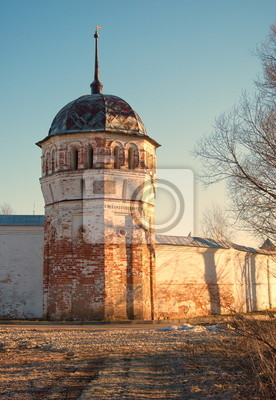The tower of the monastery at sunset