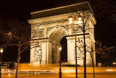 Wall mural The Triumphal Arch at night, Paris, France.