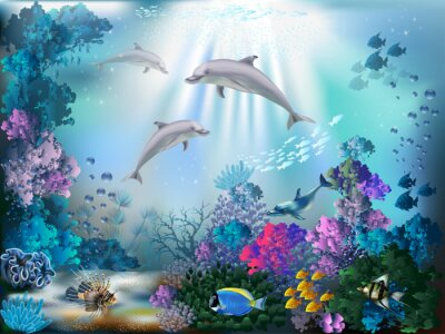 Wall mural The underwater world with dolphins and plants