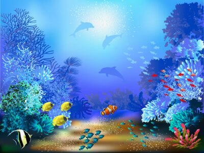 Wall mural The underwater world with fish and plants