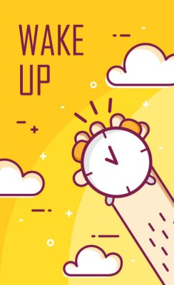 Thin line flat design. Wake up poster. Vector background with hand and alarm clock.