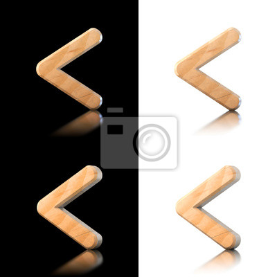 Three dimensional wooden strict inequality symbol. Isolated on w