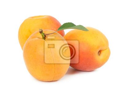 Three fresh apricot with leaf