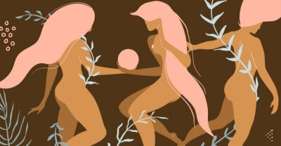 Wall mural Three nude beautiful women with floral decoration product or apparel design concept.